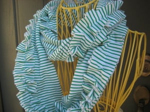 Image of Ruffle Cowl- Green and White Stripe