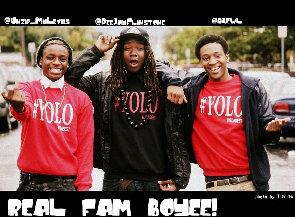 Image of RED #YOLO CREWNECK WITH WHITE PRINT
