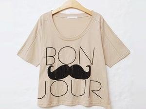Image of Bon Jour Moustache Cropped Shirt