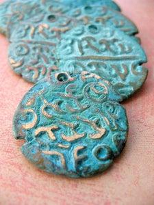 Image of Burmese Replica Coin in Verdigris