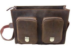 "Image of Vintage Handmade Crazy Horse Leather Briefcase 13"" 15"" 17"" MacBook 13"" 14"" 15"" 16"" Laptop Bag (n453)"