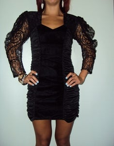 Image of Vintage 80s Black Party Mini Dress Goth XS/S