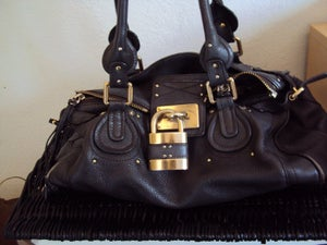Image of Chloe Brown Bag with Gold Lock