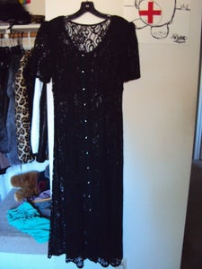 Image of Vintage Long Black Lace Button Up Dress size S