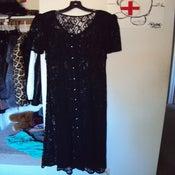 Image of Vintage Long Black Lace Button Up Dress size S