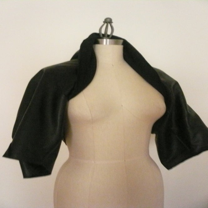 Image of MARIA SEVERYNA Draped Black Leather Jacket Shrug
