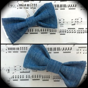 """Image of Denim """"Timmerson"""" Bows (also available as an easy clip-on bow tie)"""