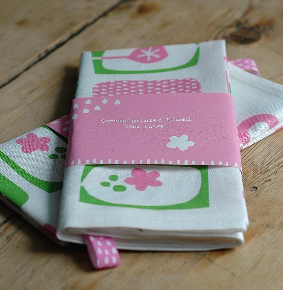 Image of Screen printed pink/green Tea Towel