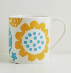 Image of Bone china yellow/blue flower mug