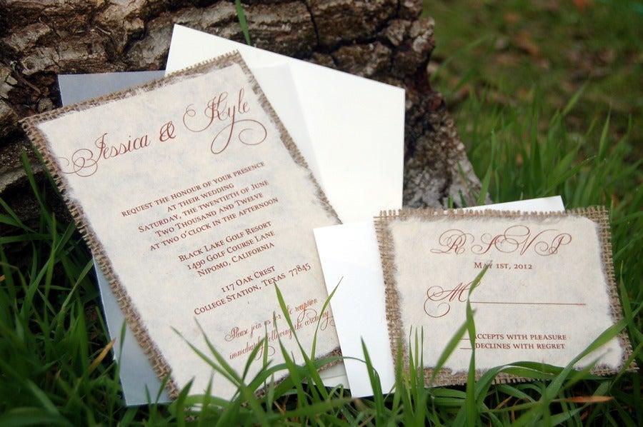 Invitations by Alecia Do It Yourself DIY Simple Rustic Burlap – Burlap Wedding Invites