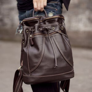 Image of Handmade Genuine Leather Women's Backpack Day Pack Satchel Travel Bag in dark brown (m36)