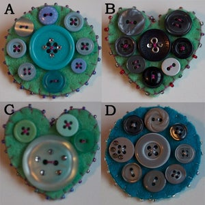 Image of Button brooch - Greens and Blues
