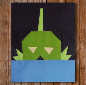 """Image of Larry the Creature 8"""" x 10"""" Quilt Block Pattern PDF"""