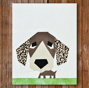 "Image of Peeping Puppy 8"" x 10"" Quilt Block Pattern PDF"