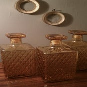 Image of Vintage: Three Square Amber Decanters
