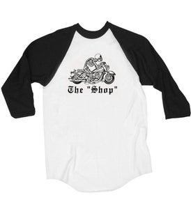 "Image of The ""Shop"" Baseball Tee- Black/ White"