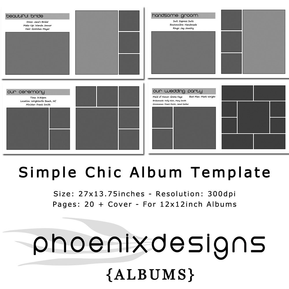 Phoenixdesigns simple chic album template for 12x12inch albums image of simple chic album template for 12x12inch albums pronofoot35fo Gallery