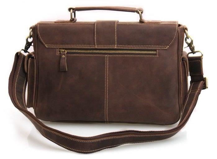 ... Image of Vintage Handmade Antique Crazy Horse Leather Briefcase  Messenger Laptop Bag in Old Dark Brown ...