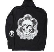 Image of Unisex PluraBella Skull Logo Full Zip Jogger_Cadet Collar_Black