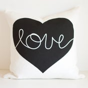 Image of Heart Cushion Cover - BLACK/WHITE