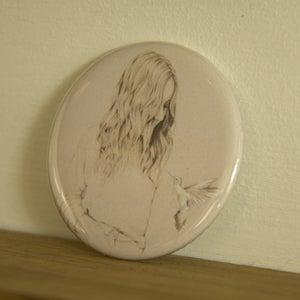 Image of Girl & Bird pocket mirror