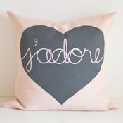 Image of Heart Cushion Cover - ROSE/GREY