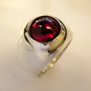 Image of Unique, Custom, Heavy Mens Ruby Ring in Silver
