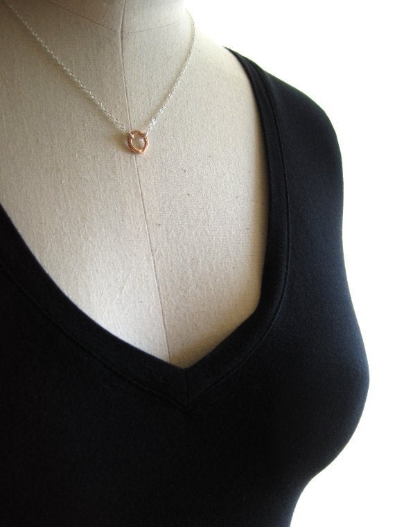 Image of Tiny rose gold circle necklace sterling silver