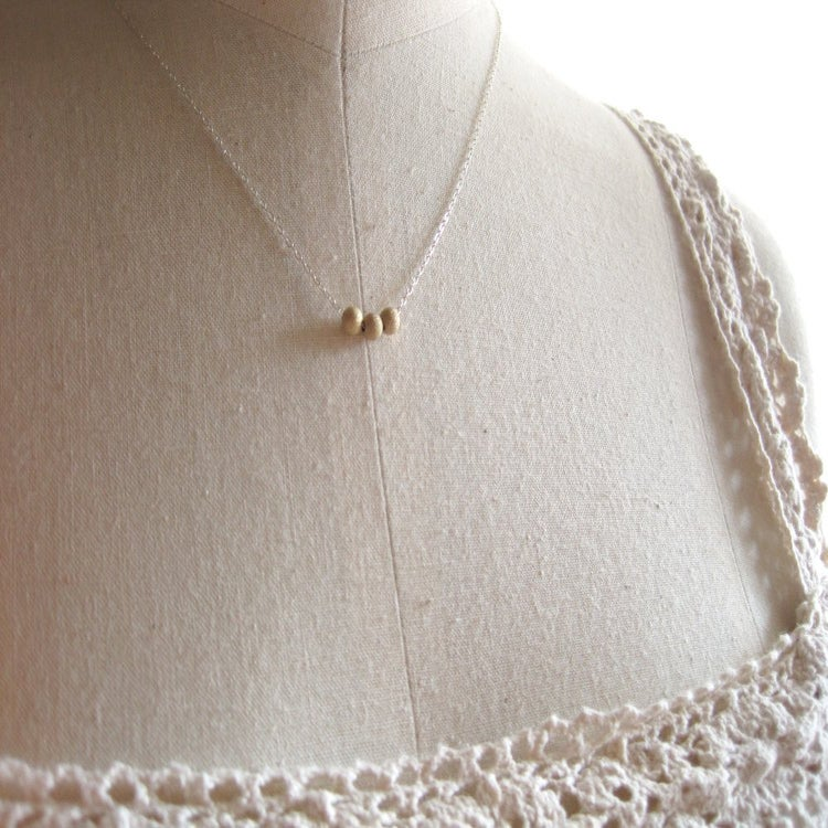 Image of Tiny gold bead trio necklace