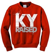 Image of Ky Raised Crewneck Sweatshirt in Red / White / Grey