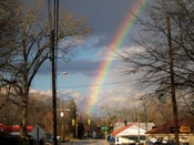 Image of Normaltown with a rainbow