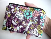Image of Floral Little Zipper pouch coin purse Gadget Case NEW ECO Dark Millefiori (Padded)