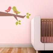 Image of Love Birds Fabric Wall Sticker Decal - Removable and Reusable