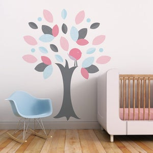 Image of Leafy Tree Children Fabric Wall Decal - Wall Art Sticker for Nursery or Kids Room