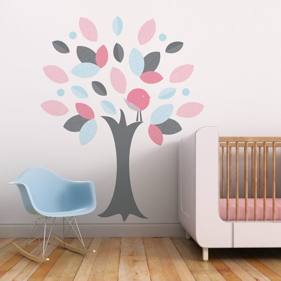 Leafy Tree Children Fabric Wall Decal   Wall Art Sticker For Nursery Or  Kids Room Part 59