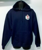 Image of Navy and Red Hooded Sweatshirt with Crest