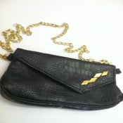 Image of Black/Gold PD Alligator Clutch/Fanny