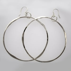 Image of Hand-Forged Hoop Earrings in 14k White Gold