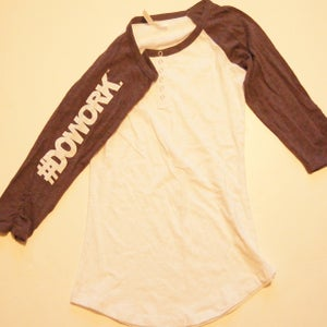 Image of #DOWORK. Baseball Tee (Charcoal Sleeve)