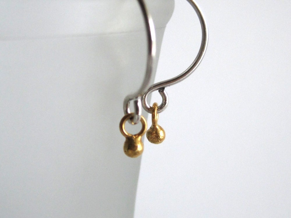 Image of Tiny gold ball hoop mixed metal hoop earrings