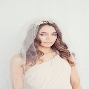 Image of Tulle double layer elbow length veil