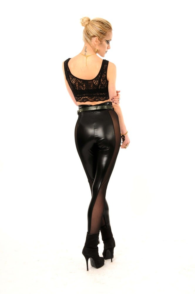 Image of CELINE LEATHER LOOK Leggings in extra high waistband...
