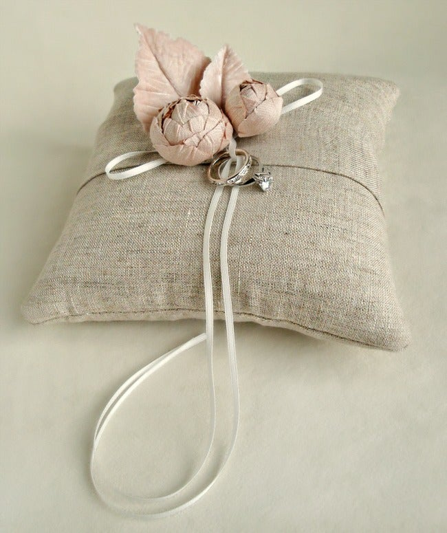 Image of Linen and Blooms Ring Bearer Pillow