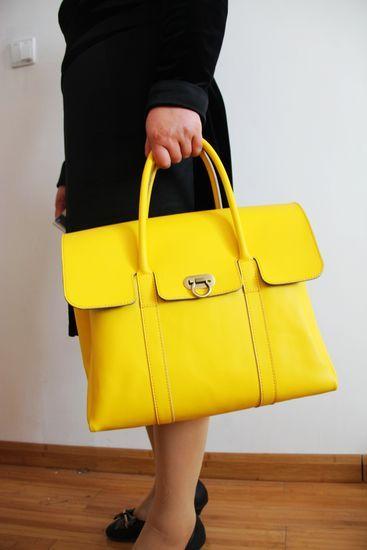 Image of Handmade Artisan Genuine Leather Women's Handbag Satchel Purse in Yellow (m42y)