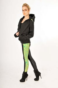 "Image of 6 PANEL HIGHER WAIST ""BLADE RUNNER"" WET LOOK LEGGINGS IN GREEN ON MUSTARD..."