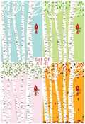 Image of Set of All 4 Seasons Cardinal & Birch Trees Silkscreen Art Prints