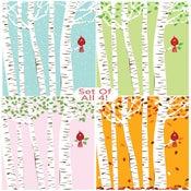 Image of Set of All 4 Seasons Cardinal & Birch Trees Silkscreen Art Prints