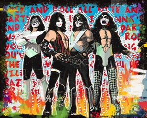 """Image of KISS 16"""" X 20"""" Mixed Media on Mounted Canvas."""