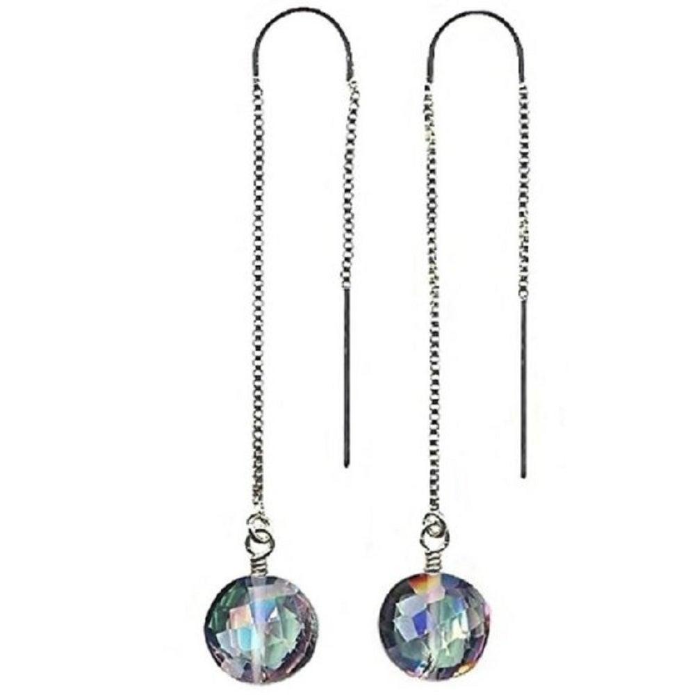Image Of Mystic Topaz Earrings  Sterling Silver Ear Threaders