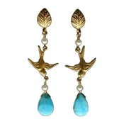 Image of Bird Earrings - Turquoise, Freshwater Pearl, Gold Vermeil